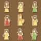 Set Of Hand Drawn Stickers With Greek Gods