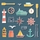 Set Of  Flat Boating Stickers