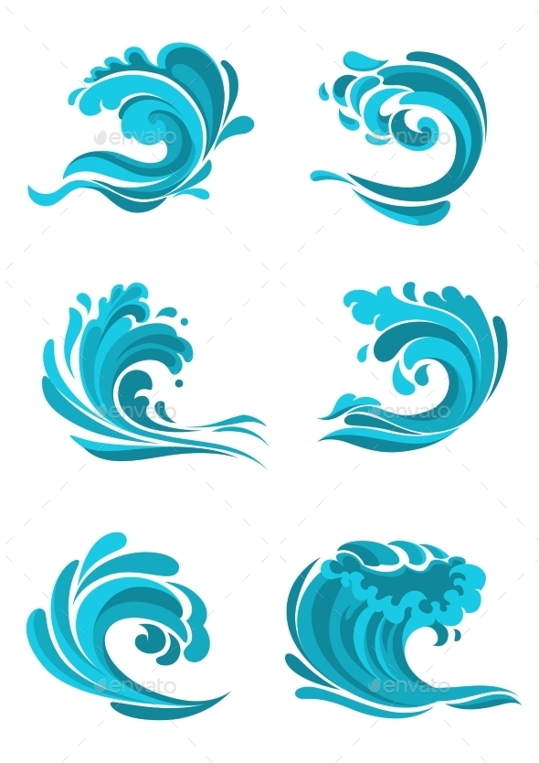 GraphicRiver Curling Sea And Ocean Blue Waves 11427803