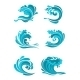 Curling Sea And Ocean Blue Waves - GraphicRiver Item for Sale