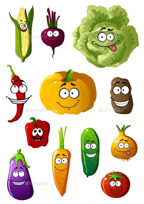 GraphicRiver Colorful Vegetables Characters With Happy Smiles 11427814