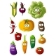 Colorful Vegetables Characters With Happy Smiles - GraphicRiver Item for Sale