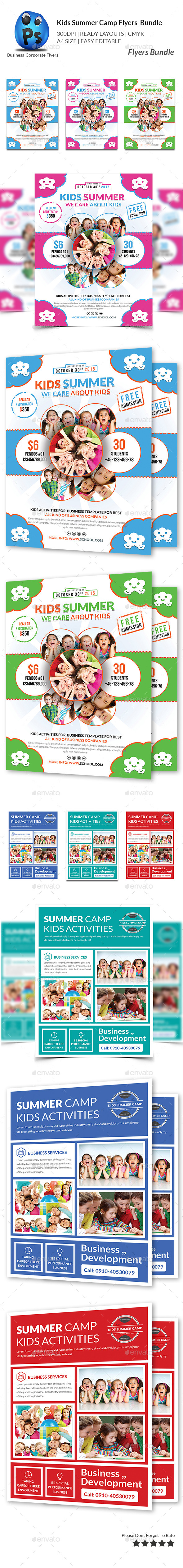 GraphicRiver Kids Summer Camp Flyers Bundle 11427869