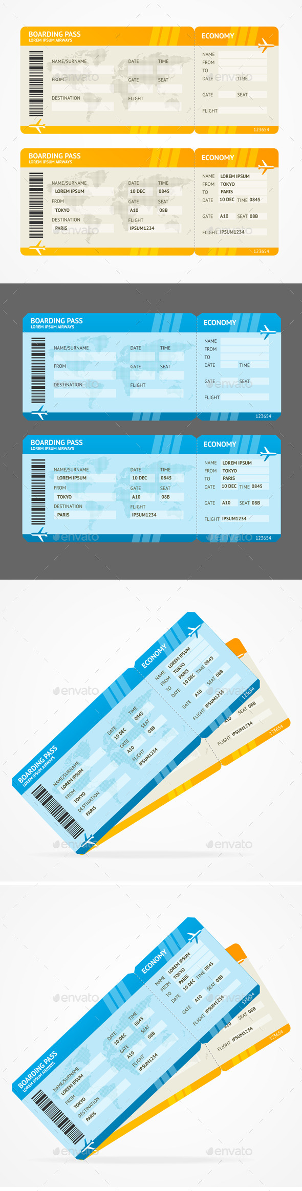 GraphicRiver Vector Modern Airline Boarding Pass Tickets 11428004