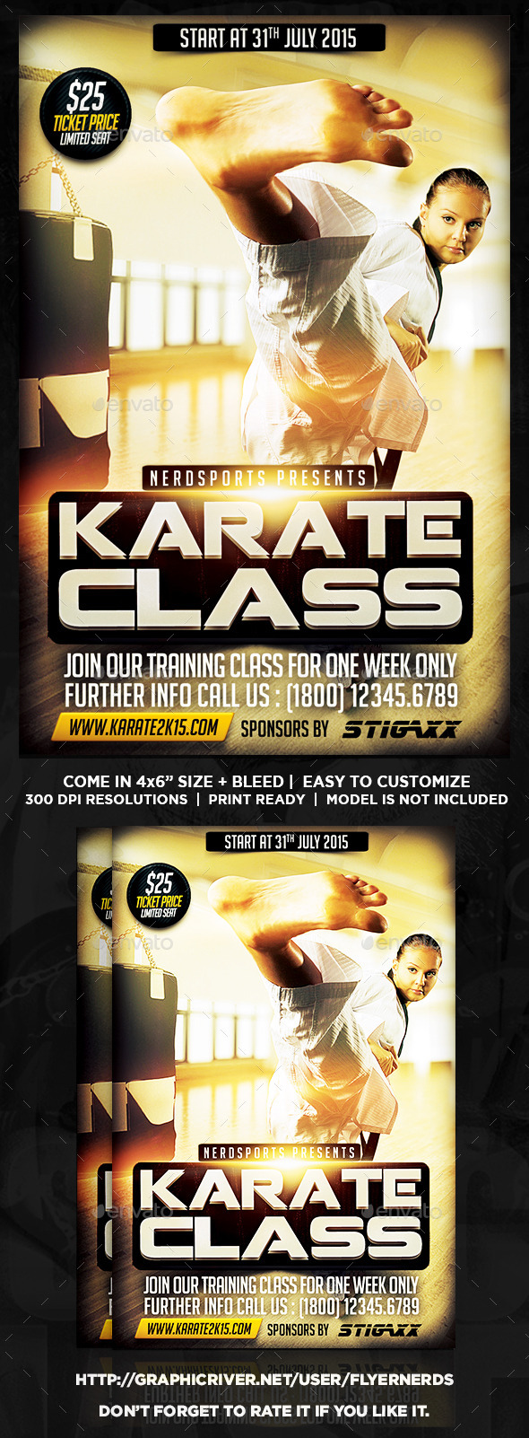 GraphicRiver Karate Class 2K15 Sports Flyer 11428023
