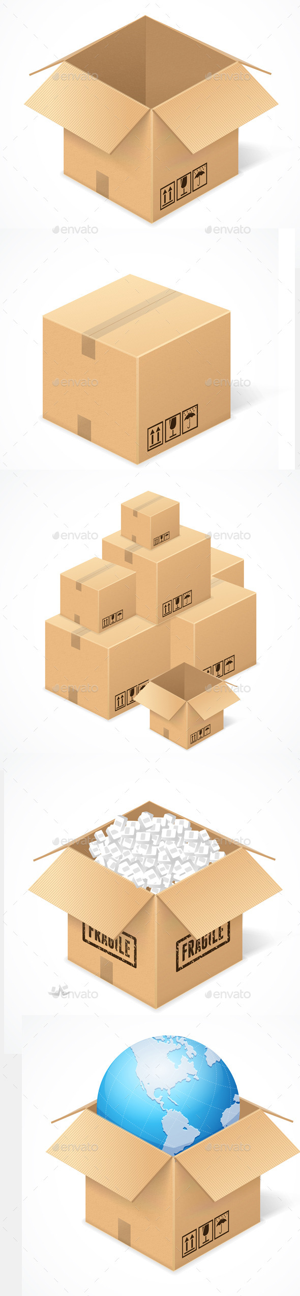 GraphicRiver Cardboard Boxes Isolated on White 11428053