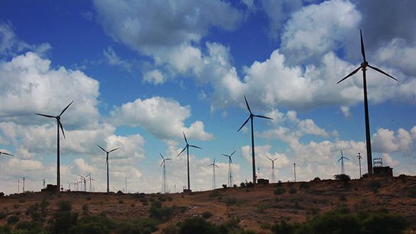 Wind Farm Turning Windmills