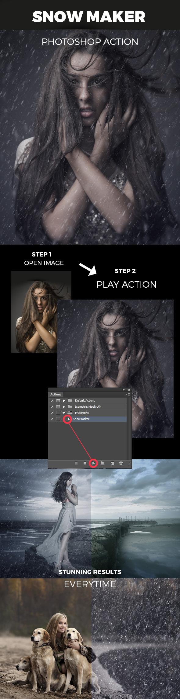 GraphicRiver Snow Maker Photoshop Action 11400035