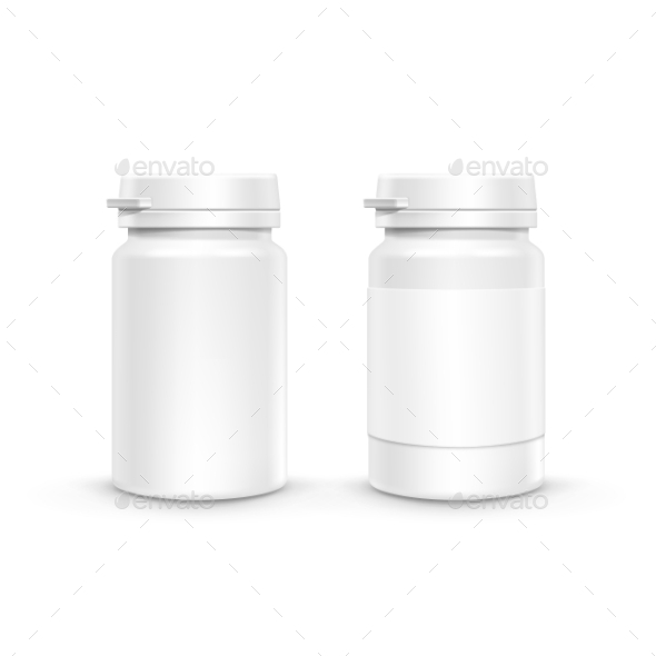 GraphicRiver Vector Plastic Packaging Bottle With Cap For Pills 11430146