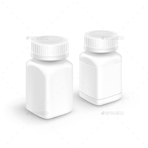 GraphicRiver Vector Plastic Packaging Bottle With Cap For Pills 11430193