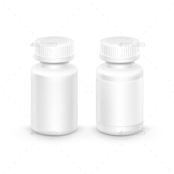 GraphicRiver Vector Plastic Packaging Bottle With Cap For Pills 11430204
