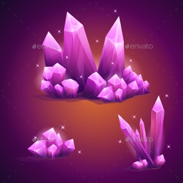 GraphicRiver Set Magical Crystals Of Various Shapes 11430229