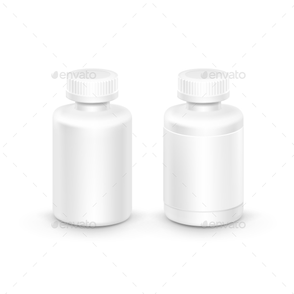 GraphicRiver Vector Plastic Packaging Bottle With Cap For Pills 11430314