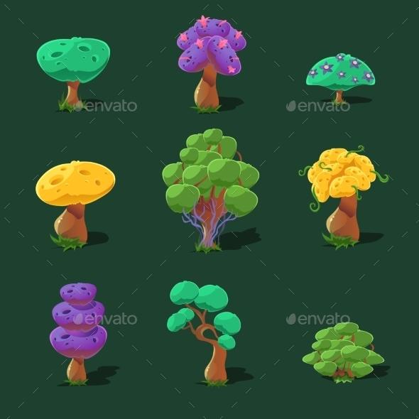 GraphicRiver Cartoon Trees Vector Set 11431527