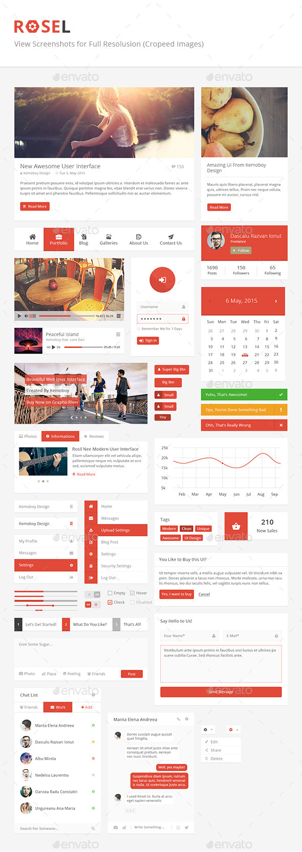 GraphicRiver Rosel Unique and Useful User Interface 11431874