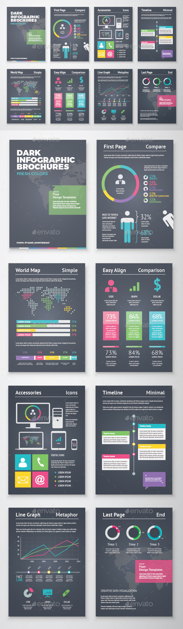 GraphicRiver Dark Infographic Brochure Vector Elements Kit 2 11432174