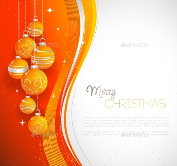 GraphicRiver Merry Christmas Card With Orange Bauble 11432188