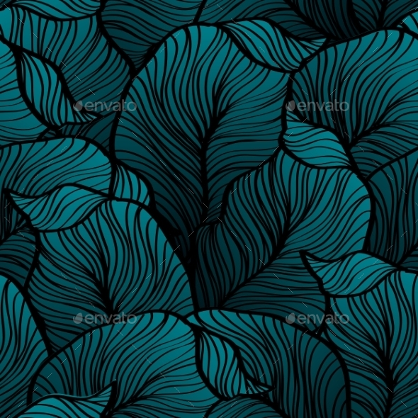 GraphicRiver Retro Seamless Pattern With Abstract Doodle Leaves 11432209