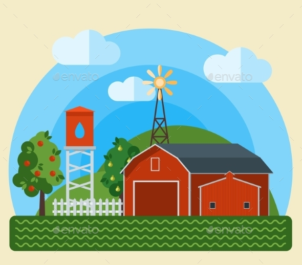 GraphicRiver Flat Farm Landscape 11432444