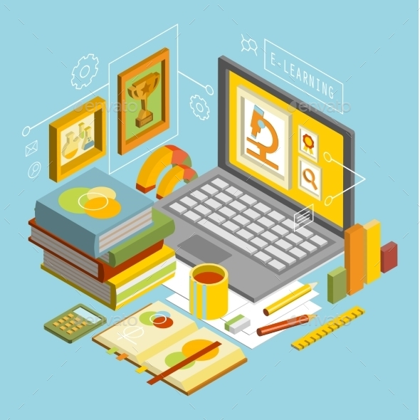GraphicRiver Vector Concept For Online Education Flat 3d 11432450