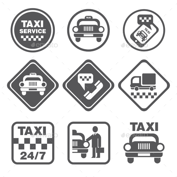 GraphicRiver Simple Set Of Taxi Related Vector Icons 11432466