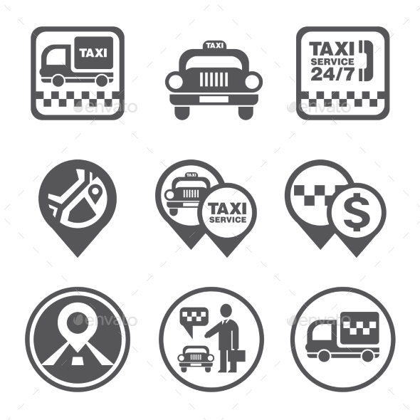 GraphicRiver Simple Set Of Taxi Related Vector Icons 11432475