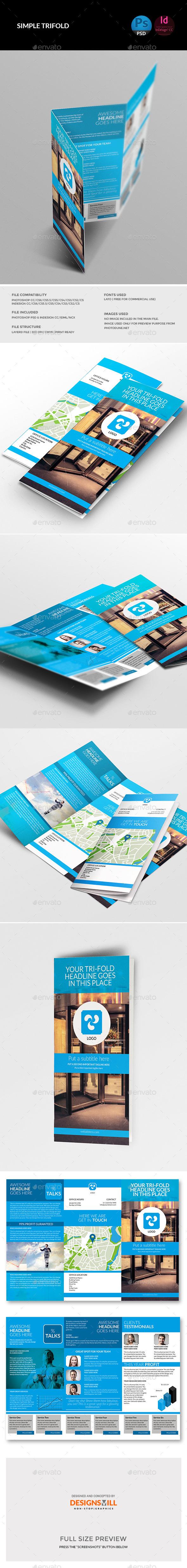 GraphicRiver Blue Simple Tri-Fold 11351414