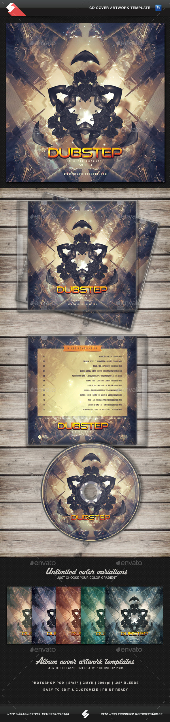 GraphicRiver Alien Dubstep CD Cover Artwork Template 11432974