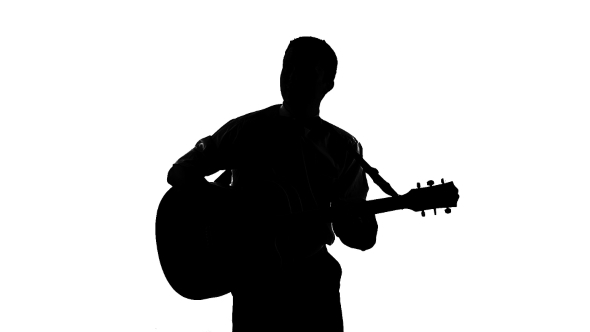 Black Silhouette Of Guy Playing Guitar On a White