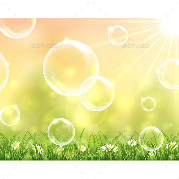GraphicRiver Bubbles Flying over the Grass 11433086
