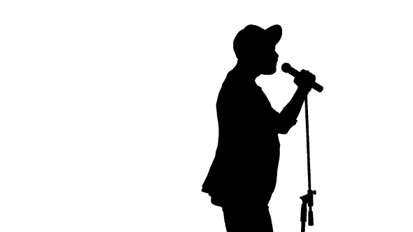 Black Silhouette Of Guy In a Cap Singing a Song