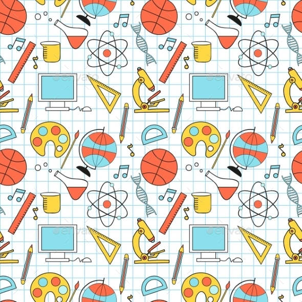 GraphicRiver Seamless Sketch Of Education Doddle Elements 11433111