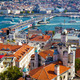The view from Galata Tower to Galata Bridge with the old houses - PhotoDune Item for Sale