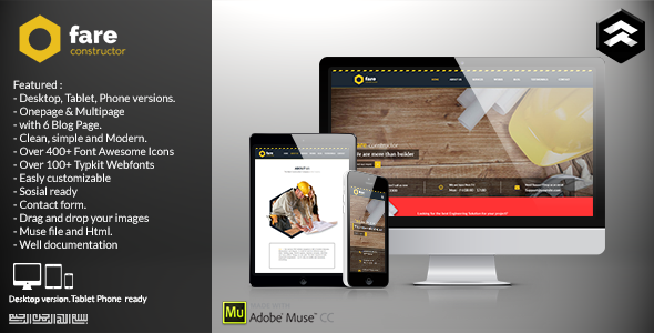 ThemeForest Fare Construction Muse Template 11433985