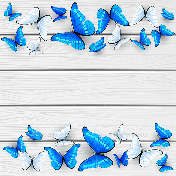 GraphicRiver Blue and White Butterflies on Wooden Background 11434071