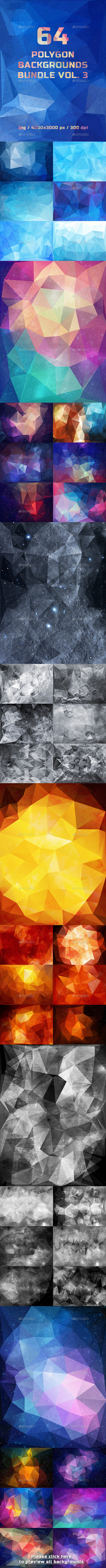 GraphicRiver 64 Polygon Backgrounds Bundle Vol.3 11434127