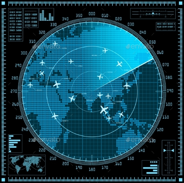 GraphicRiver Blue Radar Screen With Planes And World Map 11434184
