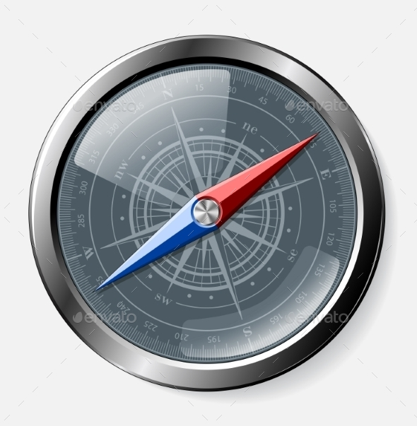 GraphicRiver Steel Detailed Compass Over Grey Background 11434188