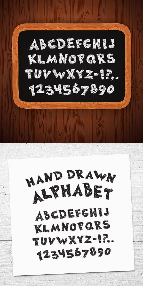 GraphicRiver Hand Drawn Chalked Font on Blackboard 11434255
