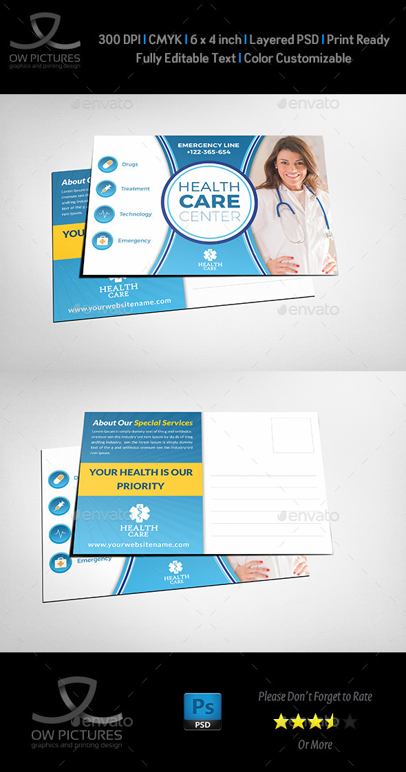 GraphicRiver Health Medical Center Postcard Template 11434538