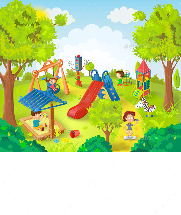 GraphicRiver Children Playing in the Park Vector Illustration 11434293