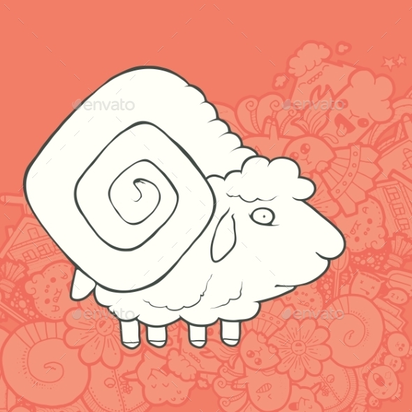 GraphicRiver Vector Illustration Cute Hand Drawn Sheep 11434626