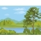 Landscape With Trees And Mountain Lake - GraphicRiver Item for Sale
