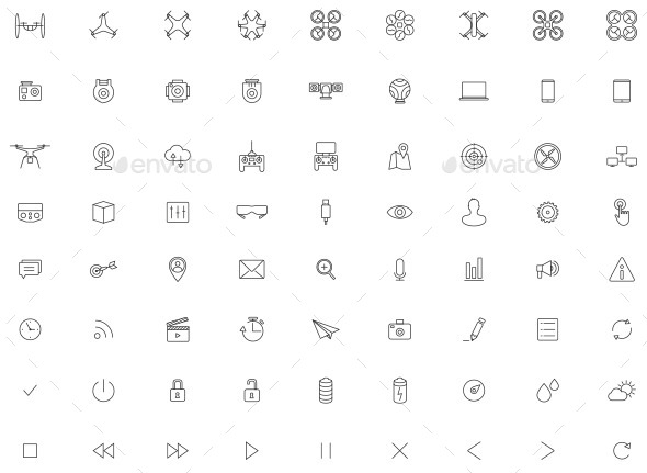 GraphicRiver Flying Drone Camera Vector Icon Set 11438629