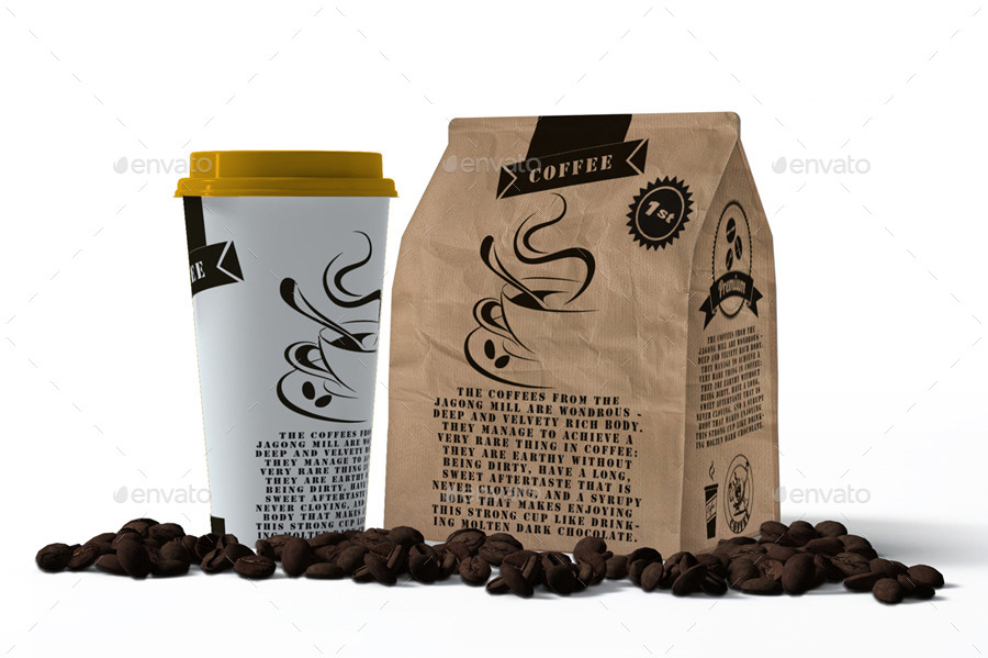 cup and paperbag mock up by akropol graphicriver. Black Bedroom Furniture Sets. Home Design Ideas