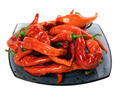Wet red chili peppers on glass plate - PhotoDune Item for Sale