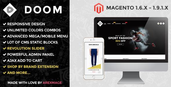 ThemeForest ARW Doom Modern fashion responsive magento theme 11439272