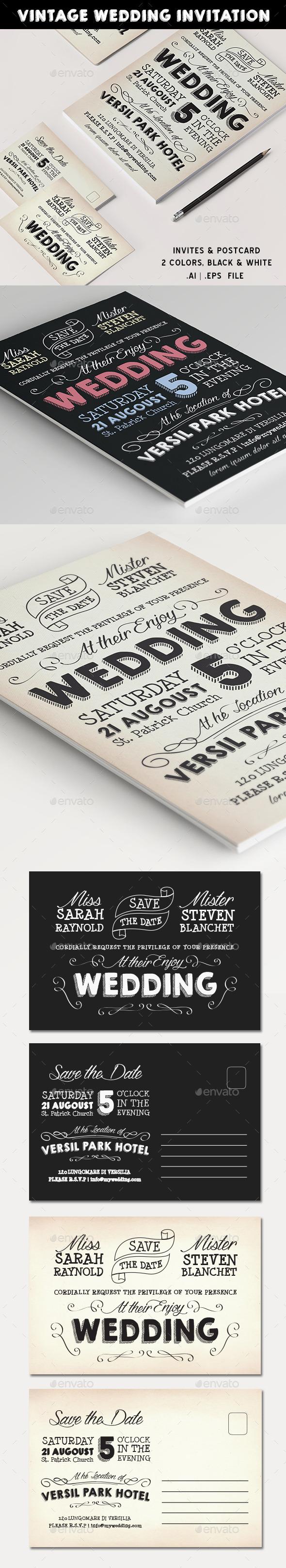 GraphicRiver Vintage Wedding Invite 11439360