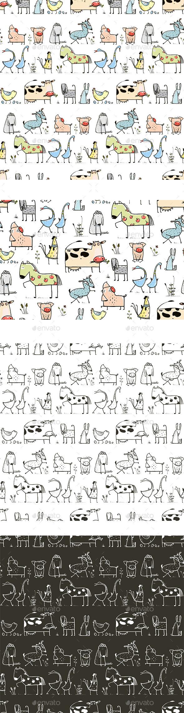 GraphicRiver Cartoon Farm Animals Seamless Patterns 11439457
