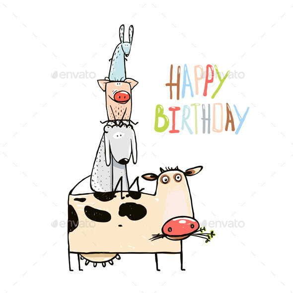 GraphicRiver Birthday Cartoon Farm Animals Greeting Card 11439465